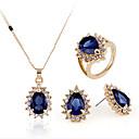 ieftine Inele-Pentru femei Sintetic Aquamarine Seturi de bijuterii de mireasă Geometric Inimă Clasic Placat Auriu cercei Bijuterii Albastru Închis Pentru Petrecere Zilnic 1set