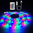 ieftine Benzi Flexibile Becuri LED-zdm 5v 1m alimentat cu usb smd 60 x 2835 benzi luminoase cu leduri de 8mm culoare cu 24 de taste ir telecomandă pentru iluminare pe fundal tv pc notebook decorare acasă