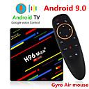 رخيصةأون صناديق التلفاز-h96 ماكس بلس التحكم الصوتي صندوق التلفزيون الذكي android 9.0 rk3328 4k media player quadcore 4gb ram 64gb rom android 8.1 rockchip set top box 2.4g / 5g wifi h.265 h96max + tvbox usb3.0 bt
