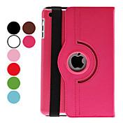 Funda Para Mini iPad 3/2/1 con Soporte Activado / Apagado Automático Rotación 360º Funda de Cuerpo Entero Color sólido Cuero de PU para