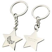 Personlig gravert gave femkantet stjerne Nøkkelringer (sett med 6)