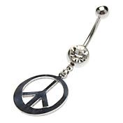 Acero inoxidable Paz anillo del ombligo Símbolo