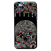 Color fresco del cráneo del metal de la joyería de nuevo caso para el iPhone Diamond 5C