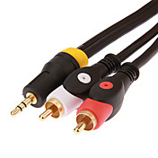 jsj® 1.8m 5.904ft 3,5 mm macho estéreo a 2 cable de audio RCA macho - negro