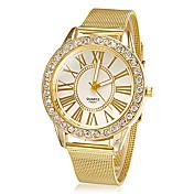 Mujer Cuarzo Reloj de Pulsera Diamantes Sintéticos La imitación de diamante Aleación Banda Flor Destello Reloj de Vestir Moda Dorado