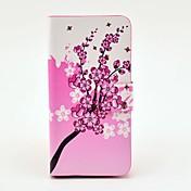 Exquisito patrón Rosy flor pu estuche de cuero con cierre magnético y la ranura para tarjeta para Samsung Galaxy S4 mini-I9190