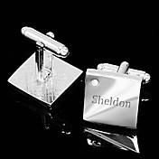Regalo personalizado Squared Mancuernas grabadas plata con diamantes de imitación