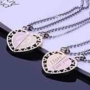 Personalizados Parejas regalo de la joyería del acero inoxidable Grabado colgante collar de los amantes con 60cm Cadena