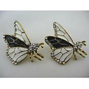 Moda goteo mariposa embutido diamante pendiente de la aleación