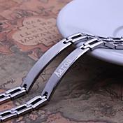 개인 선물 간단한 디자인은 남자의 보석 스테인리스 새겨진 ID 팔찌 0.8 폭보기