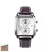 regalo del día de rectángulo marrón pu analógico banda de padre personalizado de los hombres reloj con diamantes de imitación grabado
