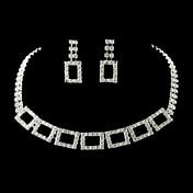 Wedding Bridal Bridesmaid krystall kjede øredobber smykker sett