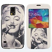 Marilyn Monroe Pattern PU Leather Case cuerpo completo para Samsung Galaxy i9600 S5