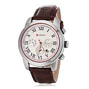 남성 라운드 PU 밴드 석영 아날로그 손목 시계 (분류 된 색깔)를 다이얼
