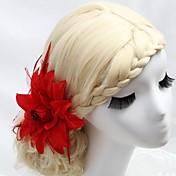Mujer Niña de flor Pluma Tejido Celada-Boda Ocasión especial Al Aire Libre Peinetas Flores