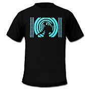 LED 티셔츠 LED 불이 깜빡이는 사운드 면 노블티 2 AAA 배터리