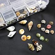 100PCS 혼합 상자 3 차원 네일 아트 장식을 포함하지 천연 쉘 액세서리 모양