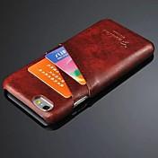 용 아이폰6케이스 / 아이폰6플러스 케이스 카드 홀더 케이스 뒷면 커버 케이스 단색 하드 인조 가죽 iPhone 6s Plus/6 Plus / iPhone 6s/6