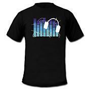 LED 티셔츠 LED 불이 깜빡이는 사운드 텍스타일 카툰 2 AAA 배터리