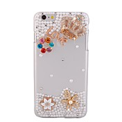 Para Funda iPhone 6 / Funda iPhone 6 Plus Diamantes Sintéticos Funda Cubierta Trasera Funda Dibujo 3D Dura PolicarbonatoiPhone 6s Plus/6