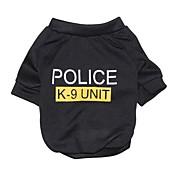 고양이 / 개 티셔츠 블랙 강아지 의류 여름 문자와 숫자 / 경찰/군인 패션