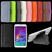 Para Samsung Galaxy Note con Soporte / Flip Funda Cuerpo Entero Funda Un Color Cuero Sintético Samsung Note 4