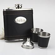 de acero inoxidable personalizada frasco negro conjunto de 6 ozgift