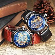 Hombre Reloj de Pulsera El reloj mecánico Cuerda Automática Huecograbado Piel Banda Negro Marrón Negro Marrón