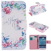 Para Funda Samsung Galaxy Soporte de Coche / con Soporte / Flip / Diseños Funda Cuerpo Entero Funda Flor Cuero Sintético Samsung S4 Mini
