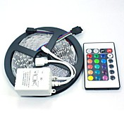 5 m Fleksible LED-lysstriper / Lyssett / RGB-lysstriper LED 5050 SMD RGB Fjernkontroll / Kuttbar / Mulighet for demping 12 V / Koblingsbar / Selvklebende / Fargeskiftende / IP44
