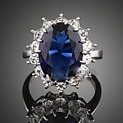 Mujer Cristal / Zafiro Sintético Anillo de declaración - Zirconia Cúbica, Legierung Moda, Trenzado Tamaño Único Azul Oscuro Para Fiesta