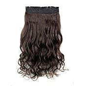24 pulgadas 120g resistente fibra sintética clip de calor rizado largo y castaño oscuro en extensiones de cabello con 5 clips