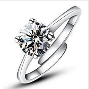Mujer Anillos de Diseño Anillo de compromiso Clásico Amor Ajustable Moda Abierta Plata de ley Diamante Sintético Cuatro Puntas Joyas Boda