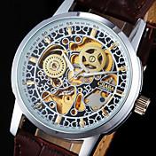 Hombre Reloj de Pulsera El reloj mecánico Cuerda Automática Huecograbado Noctilucente PU Banda Cool De Lujo Marrón