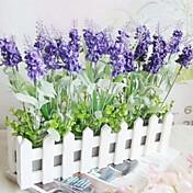 깊은 보라색 라벤더와 30cm 길이의 흰색 울타리 인공 꽃 가정 장식