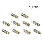 10pcs 1W 300 lm G4 LED-kornpærer T 24 leds SMD 3014 Varm hvit Kjølig hvit DC 12 V