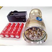 LED손전등 LED 9600lm lm 3 모드 Cree XM-L T6 배터리, 충전기 포함 충전식 방수 나이트 비젼 캠핑/등산/동굴탐험 일상용 경찰/군인 사이클링 사냥 멀티기능 등산 여행 드라이빙 일 블랙 그레이 골든