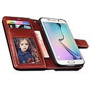 삼성 Samsung Galaxy S6 - 전체 바디 케이스 - 솔리드 컬러 - 삼성 모바일폰 ( 블랙/화이트/레드/브라운/로즈 , PU 피혁 )