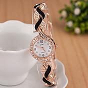 yoonheel Mujer Simulado Diamante Reloj Reloj de Pulsera Reloj Pulsera Reloj de Moda Cuarzo La imitación de diamante Metal Banda Destello
