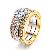 문자 반지 크리스탈 모조 다이아몬드 합금 클래식 패션 보석류 결혼식 파티 1PC