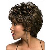 여성 인조 합성 가발 캡 없음 자연스런 웨이브 미듐 브라운 의상 가발 의상 가발