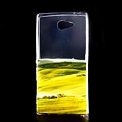 patrón pradera delgada cáscara protectora material de TPU transparente para Sony Xperia m2