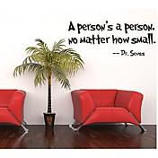 una persona es una persona, no importa decorativa etiqueta de la pared de vinilo removible lo pequeño presupuesto tatuaje de pared