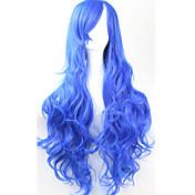 여성 인조 합성 가발 캡 없음 컬리 블루 코스플레이 가발 의상 가발