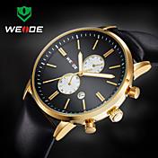 WEIDE Hombre Reloj de Pulsera Calendario / Resistente al Agua Piel Banda Lujo Negro