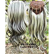 머리를위한 새로운 여성의 긴 헤어 스타일 곱슬 합성 가발 3/4 가발 열 저항 반 가발 곱슬 금발 가발 패드