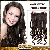 5 klipp bølget medium brun (# 4) syntetisk hår klippet i hair extensions for damer flere farger