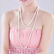 Dame Strands halskjede / Y Halskjede / Perlehalskjede - Perle, Imitert Perle Blomst Mote Hvit Halskjeder Til Bryllup, Fest, Fest / aften / Daglig / Avslappet