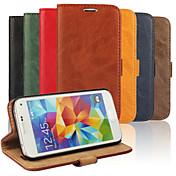 Etui Til Samsung Galaxy Samsung Galaxy Etui Kortholder med stativ Flipp Heldekkende etui Helfarge PU Leather til S5 Mini S4 Mini S3 Mini