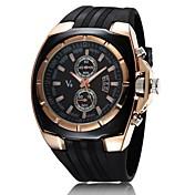 V6 Hombre Reloj de Pulsera Reloj Militar Cuarzo Cuarzo Japonés Reloj Casual Caucho Banda Encanto Negro
